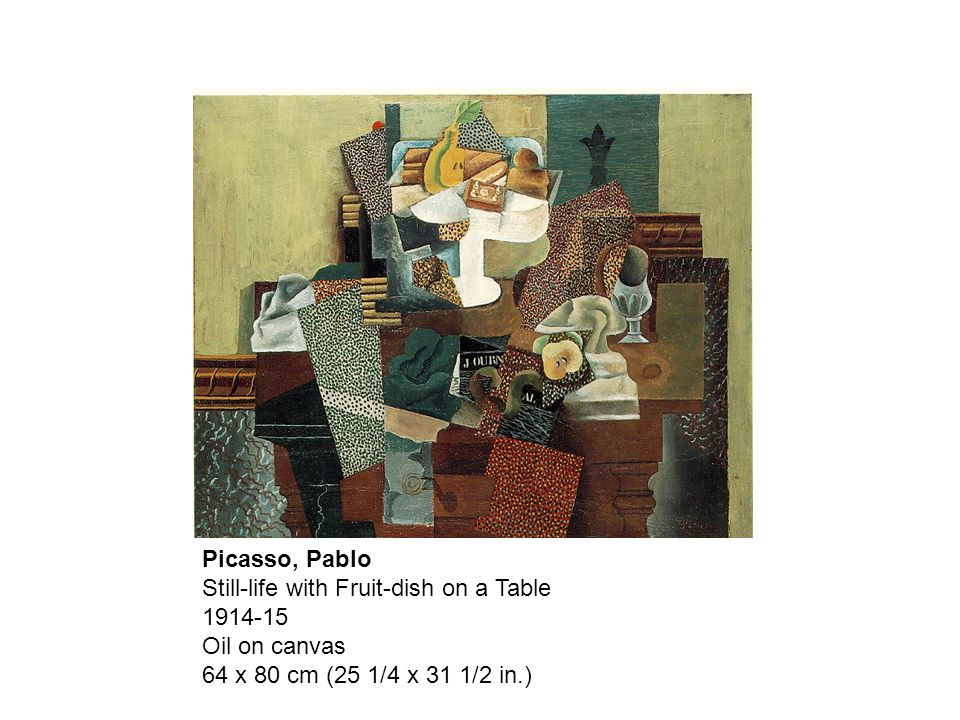 Picasso, Pablo Still-life with Fruit-dish on a Table Oil on canvas 64 x 80 cm (25 1/4 x 31 1/2 in.)