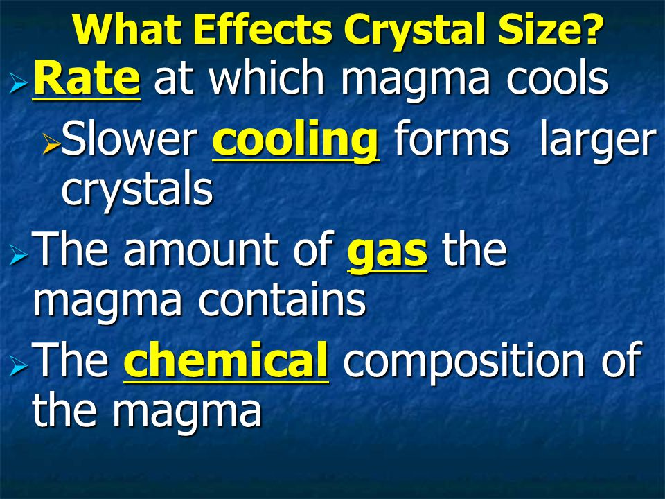 What Effects Crystal Size.