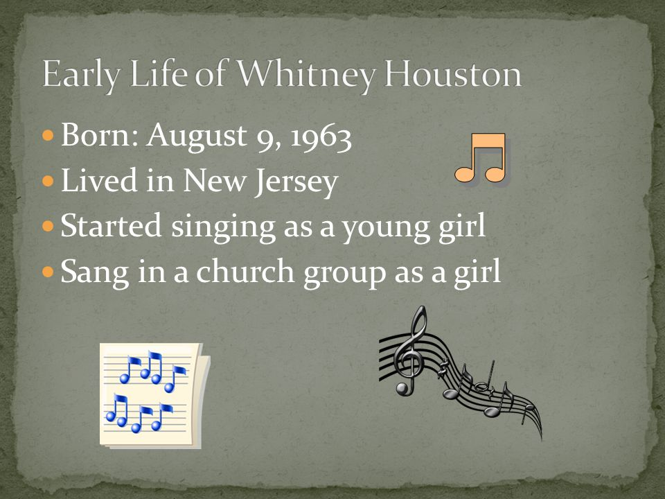 Born: August 9, 1963 Lived in New Jersey Started singing as a young girl Sang in a church group as a girl
