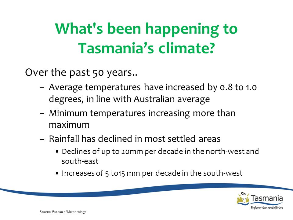What s been happening to Tasmania's climate. Over the past 50 years..