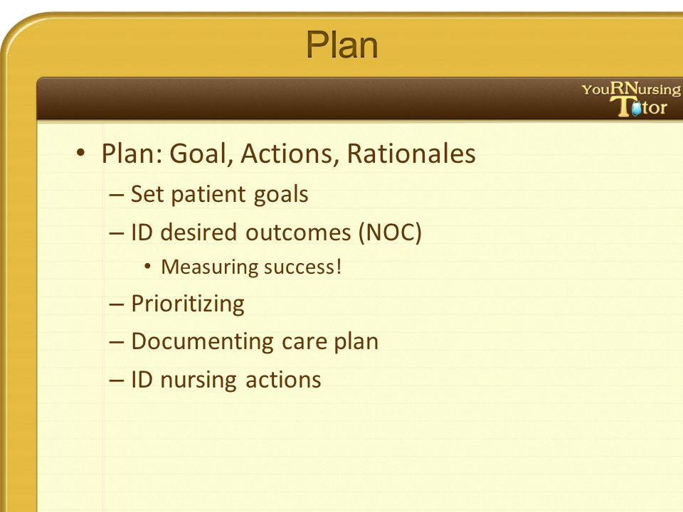 Plan: Goal, Actions, Rationales – Set patient goals – ID desired outcomes (NOC) Measuring success.