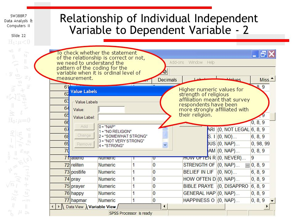 SW388R7 Data Analysis & Computers II Slide 22 Relationship of Individual Independent Variable to Dependent Variable - 2 Higher numeric values for strength of religious affiliation meant that survey respondents have been more strongly affiliated with their religion.