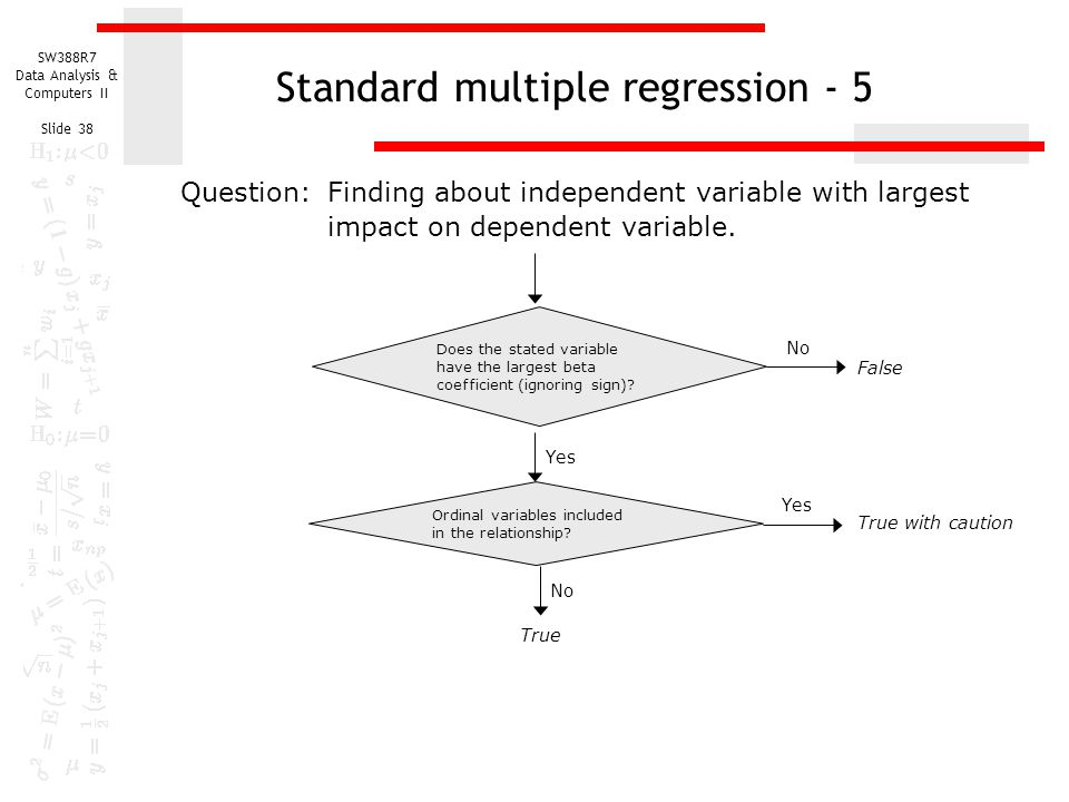 SW388R7 Data Analysis & Computers II Slide 38 Standard multiple regression - 5 Does the stated variable have the largest beta coefficient (ignoring sign).