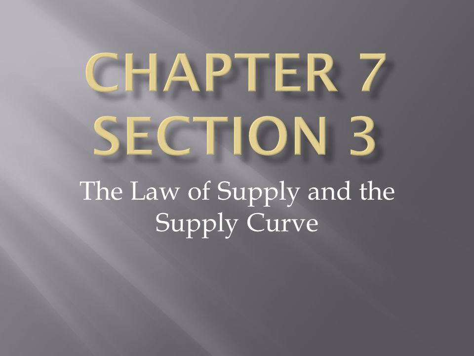 The Law of Supply and the Supply Curve