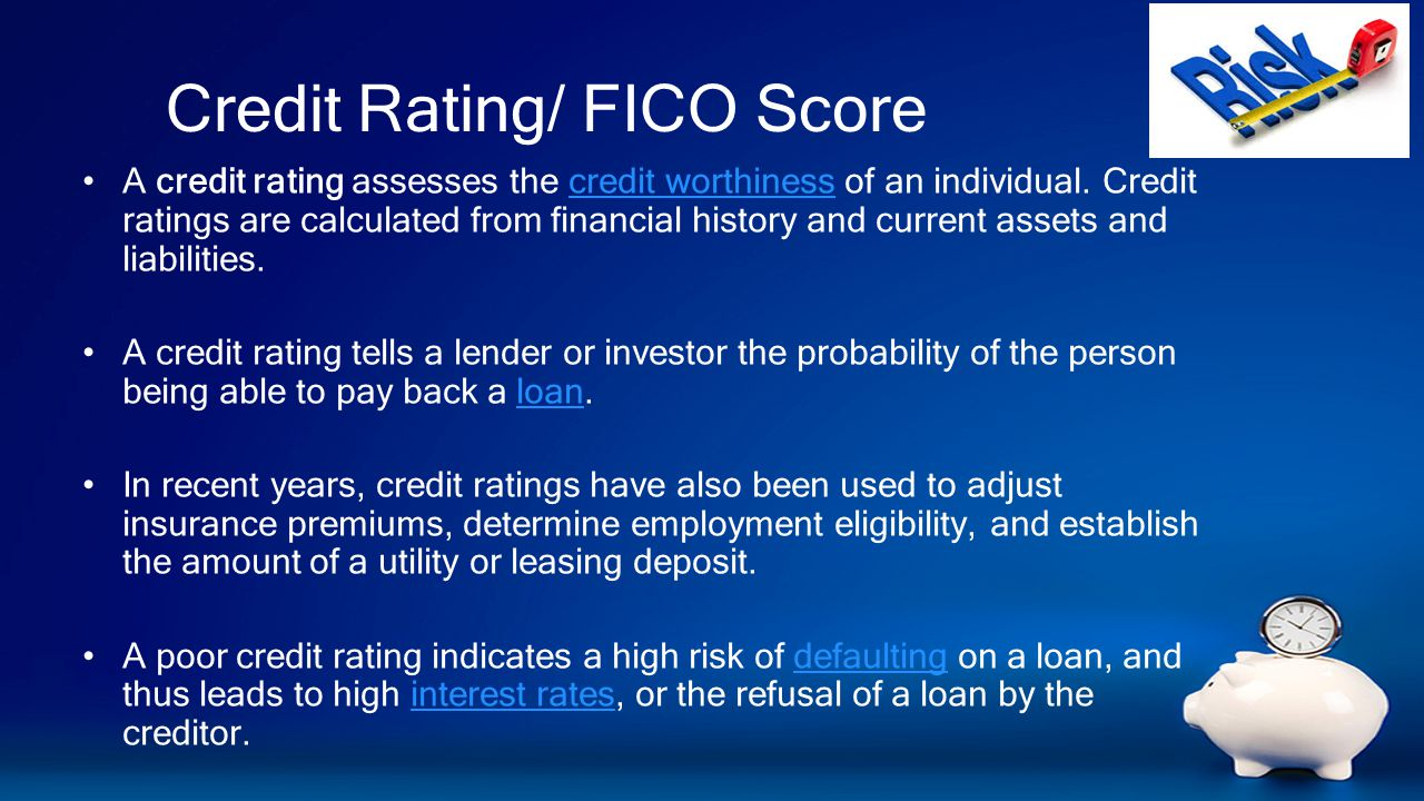 Credit Rating/ FICO Score A credit rating assesses the credit worthiness of an individual.