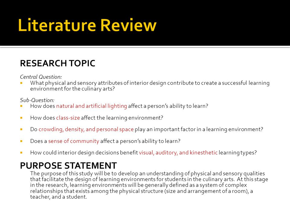 RESEARCH TOPIC Central Question What Physical And Sensory Attributes Of Interior Design Contribute To