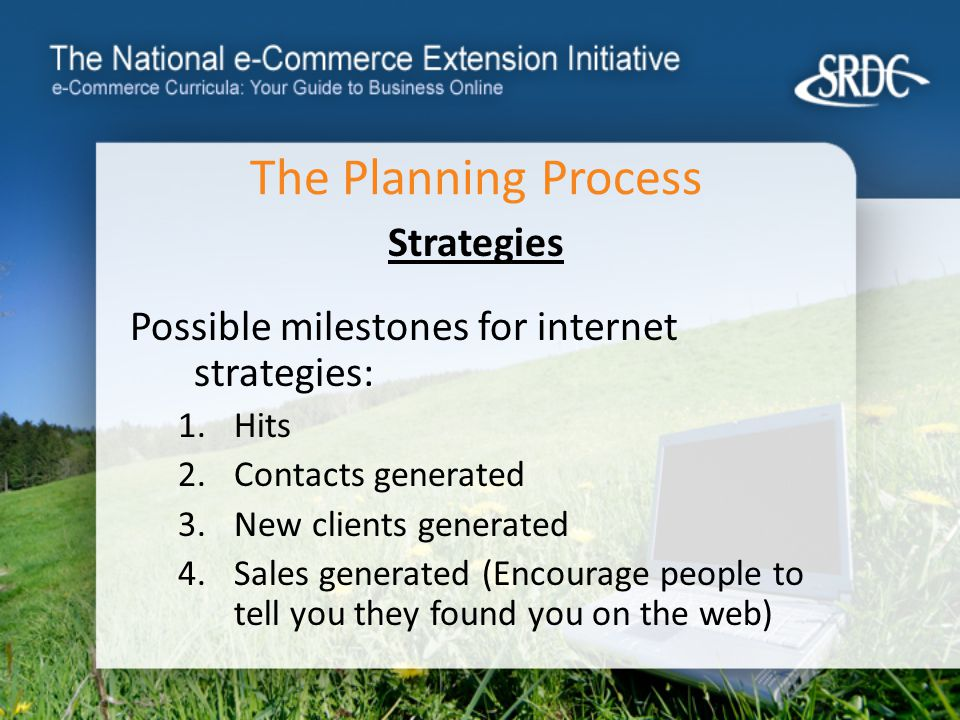 The Planning Process Strategies Possible milestones for internet strategies: 1.Hits 2.Contacts generated 3.New clients generated 4.Sales generated (Encourage people to tell you they found you on the web)