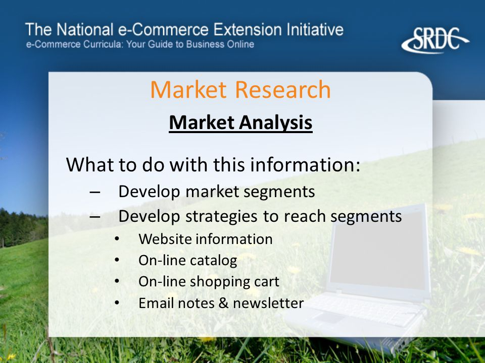 Market Research Market Analysis What to do with this information: – Develop market segments – Develop strategies to reach segments Website information On-line catalog On-line shopping cart  notes & newsletter