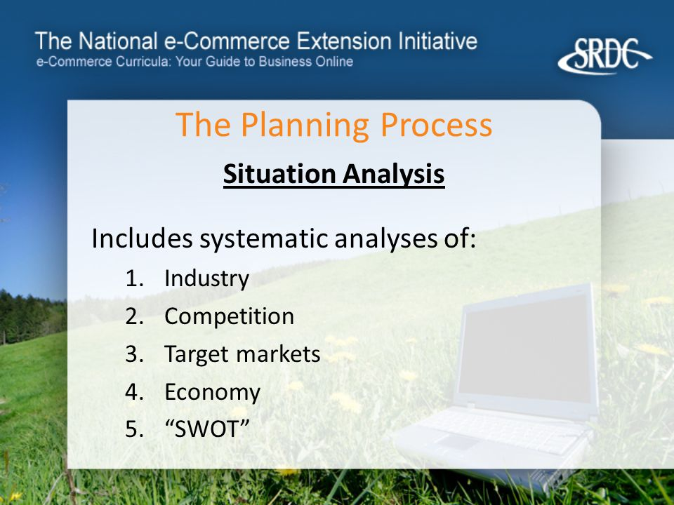 The Planning Process Situation Analysis Includes systematic analyses of: 1.Industry 2.Competition 3.Target markets 4.Economy 5. SWOT