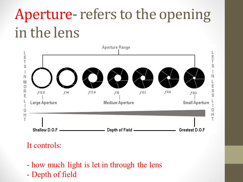 Aperture- refers to the opening in the lens It controls: - how much light is let in through the lens - Depth of field