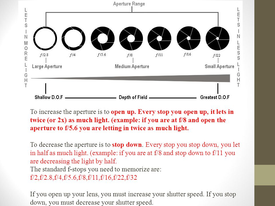 Every aperture setting is called an f/stop, or a whole stop of light To increase the aperture is to open up.