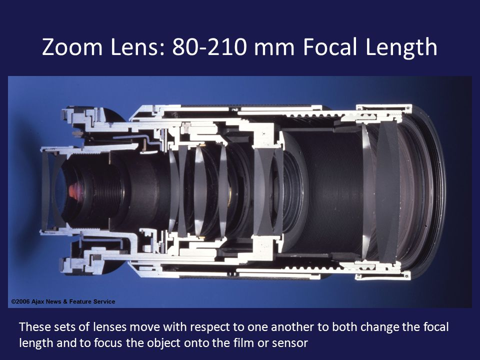 Zoom Lens: mm Focal Length These sets of lenses move with respect to one another to both change the focal length and to focus the object onto the film or sensor