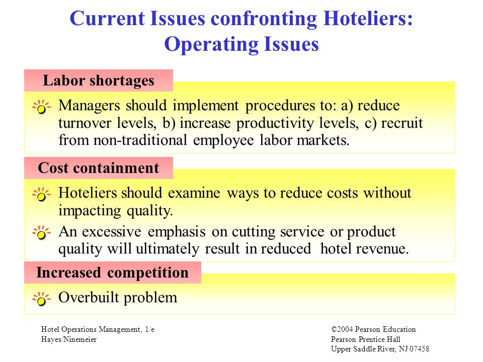Hotel Operations Management, 1/e©2004 Pearson Education Hayes/Ninemeier Pearson Prentice Hall Upper Saddle River, NJ Overbuilt problemHoteliers should examine ways to reduce costs without impacting quality.