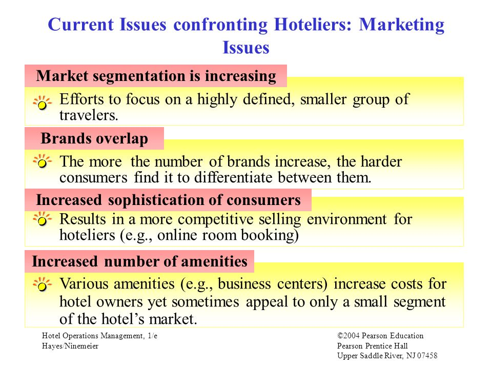 Hotel Operations Management, 1/e©2004 Pearson Education Hayes/Ninemeier Pearson Prentice Hall Upper Saddle River, NJ Various amenities (e.g., business centers) increase costs for hotel owners yet sometimes appeal to only a small segment of the hotel's market.