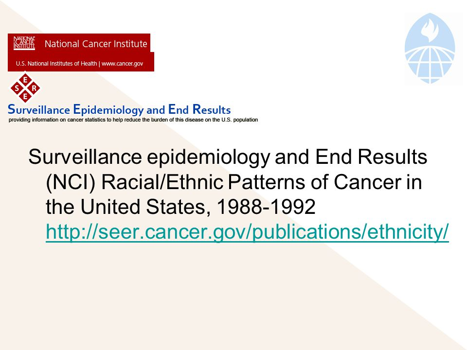 Surveillance epidemiology and End Results (NCI) Racial/Ethnic Patterns of Cancer in the United States,