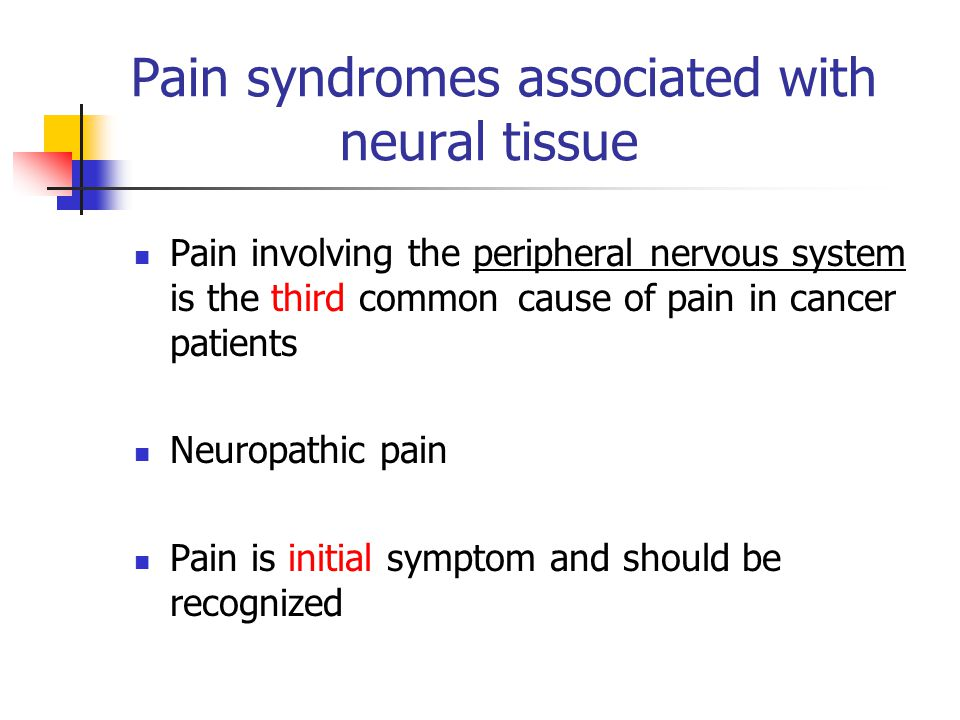 Pain syndromes associated with neural tissue Pain involving the peripheral nervous system is the third common cause of pain in cancer patients Neuropathic pain Pain is initial symptom and should be recognized