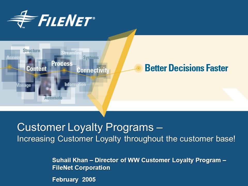 Customer Loyalty Programs – Increasing Customer Loyalty throughout the customer base.