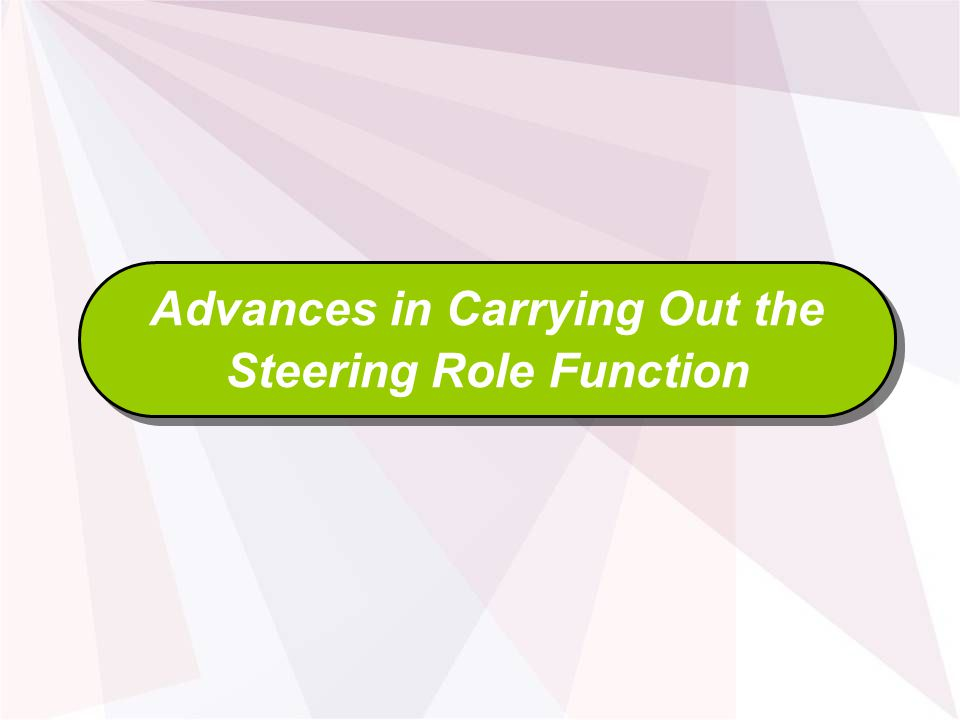 Advances in Carrying Out the Steering Role Function