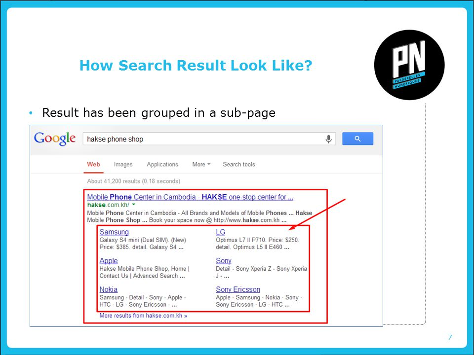 7 How Search Result Look Like Result has been grouped in a sub-page