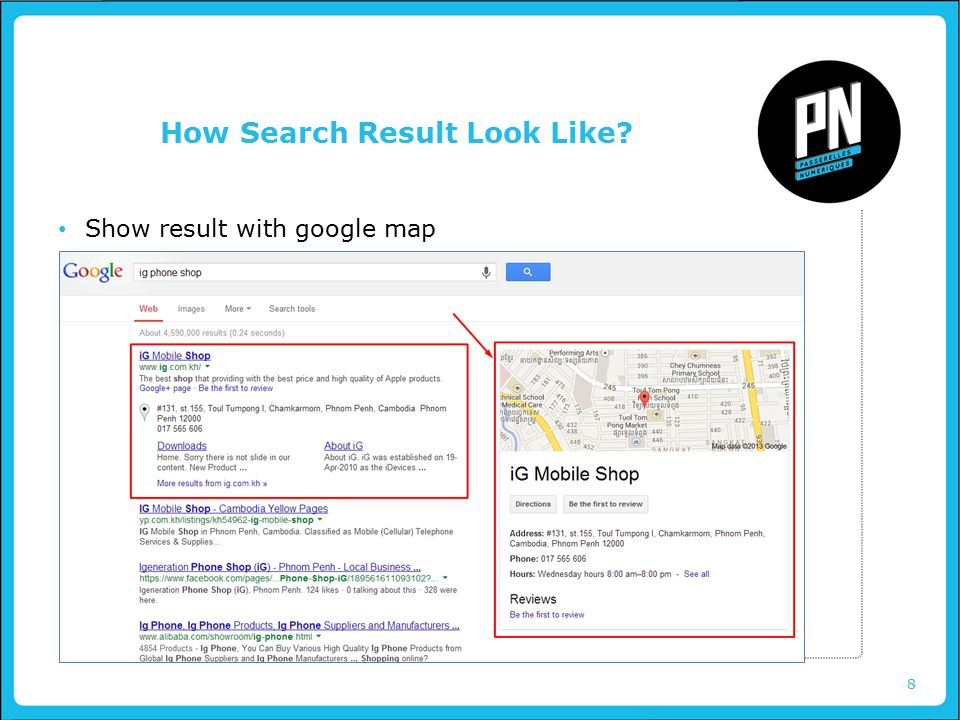 8 How Search Result Look Like Show result with google map
