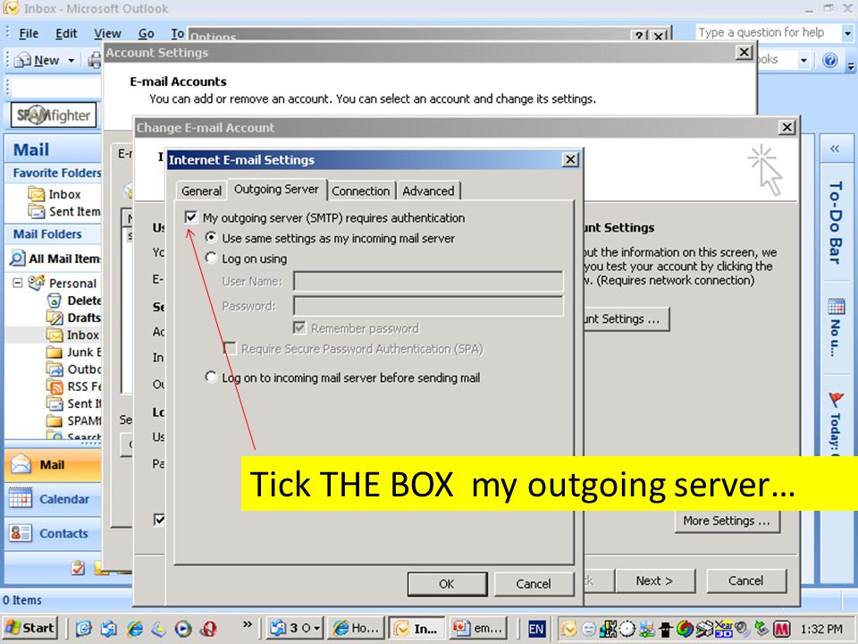 Tick THE BOX my outgoing server…