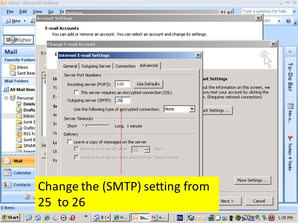 Change the (SMTP) setting from 25 to 26