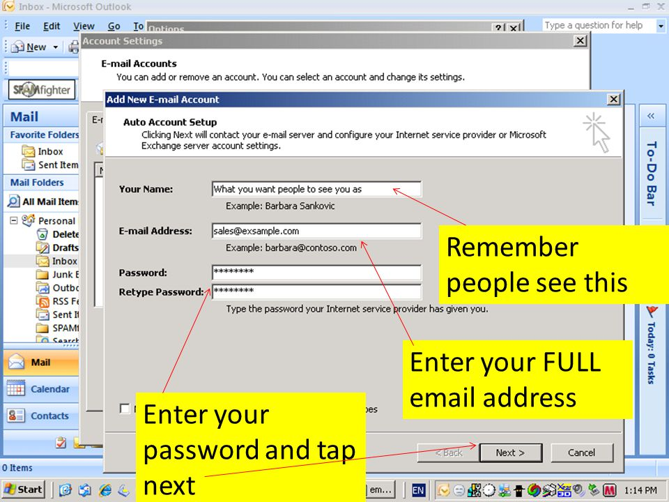 Remember people see this Enter your FULL  address Enter your password and tap next