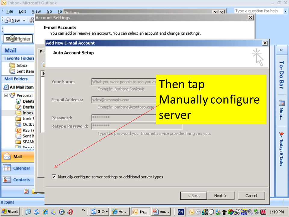 Then tap Manually configure server