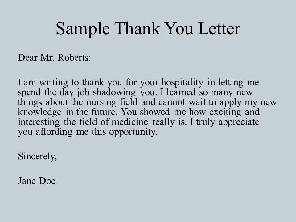 job shadowing letter