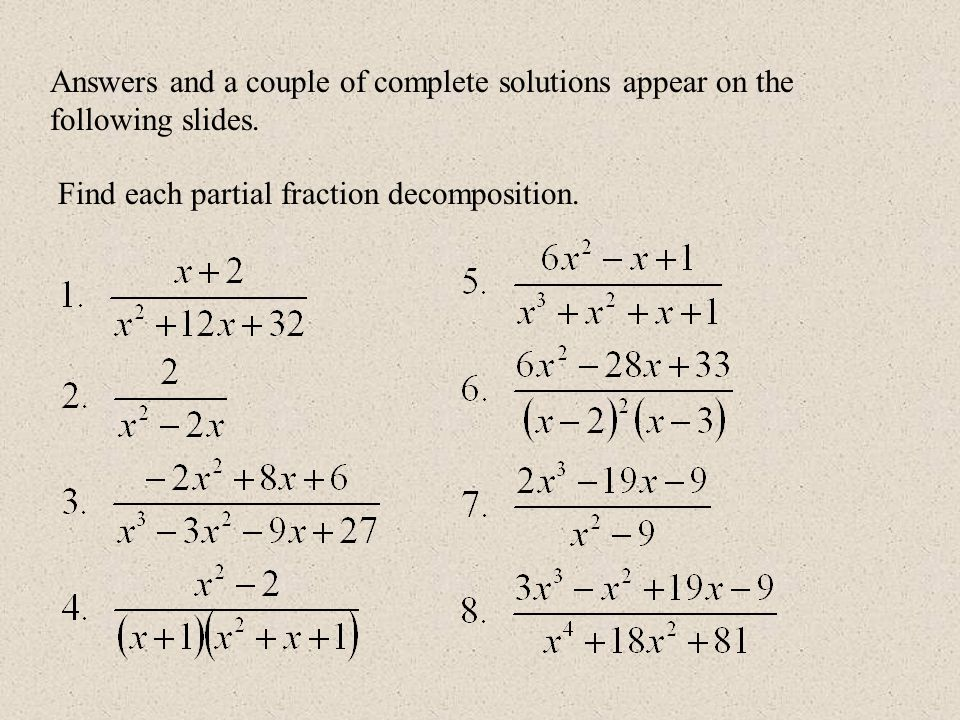 Partial Fractions Problems And Solutions Pdf integration by – Partial Fractions Worksheet