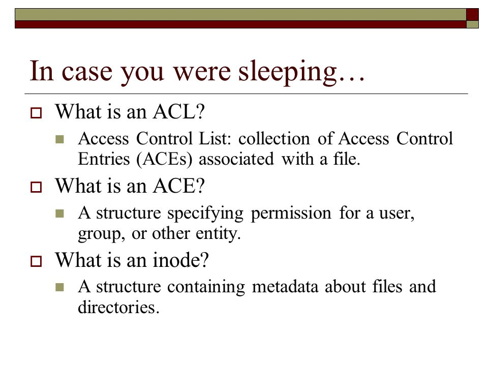 In case you were sleeping…  What is an ACL.