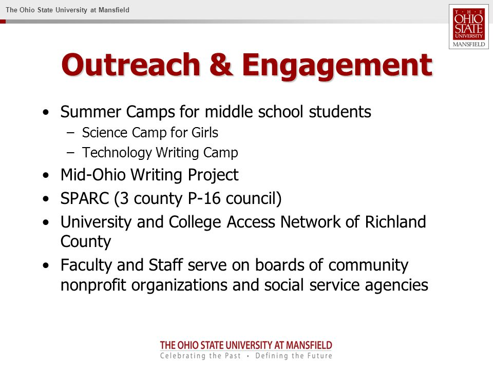 The Ohio State University at Mansfield Outreach & Engagement Summer Camps for middle school students –Science Camp for Girls –Technology Writing Camp Mid-Ohio Writing Project SPARC (3 county P-16 council) University and College Access Network of Richland County Faculty and Staff serve on boards of community nonprofit organizations and social service agencies