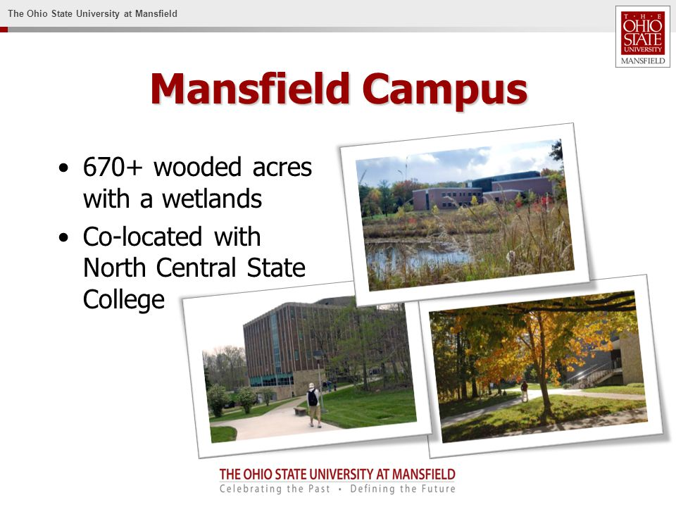 The Ohio State University at Mansfield Mansfield Campus 670+ wooded acres with a wetlands Co-located with North Central State College