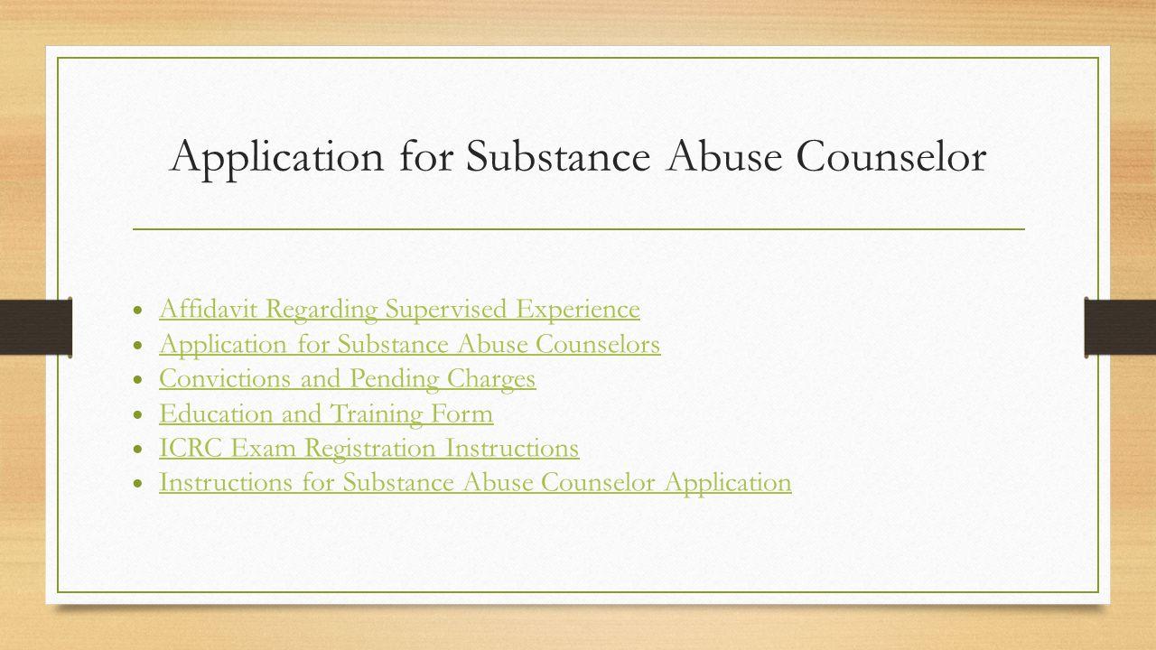 Substance abuse counselor licensing cassi gatzke lisa narr lindsey 4 application for substance abuse counselor affidavit regarding 1betcityfo Image collections