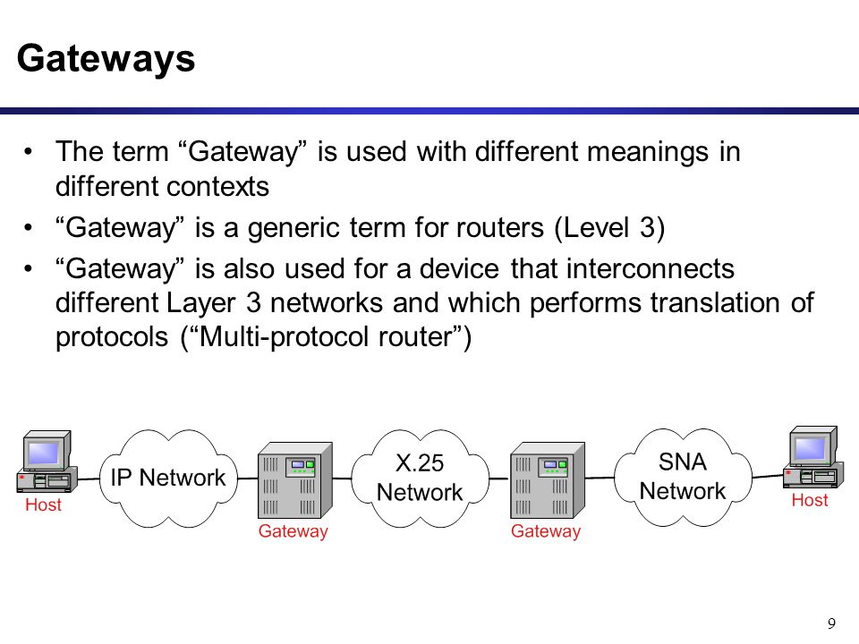 9 Gateways The term Gateway is used with different meanings in different contexts Gateway is a generic term for routers (Level 3) Gateway is also used for a device that interconnects different Layer 3 networks and which performs translation of protocols ( Multi-protocol router )