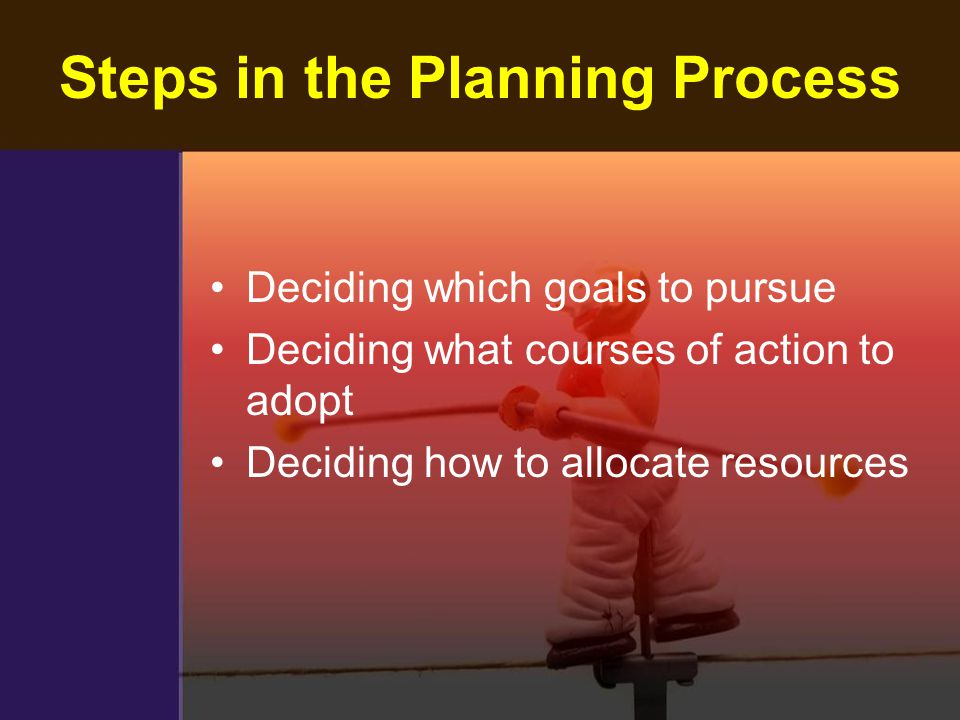 Steps in the Planning Process Deciding which goals to pursue Deciding what courses of action to adopt Deciding how to allocate resources