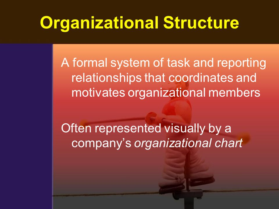 Organizational Structure A formal system of task and reporting relationships that coordinates and motivates organizational members Often represented v