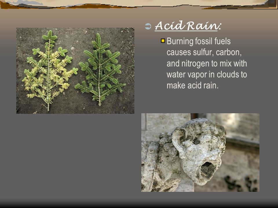  Acid Rain: Burning fossil fuels causes sulfur, carbon, and nitrogen to mix with water vapor in clouds to make acid rain.
