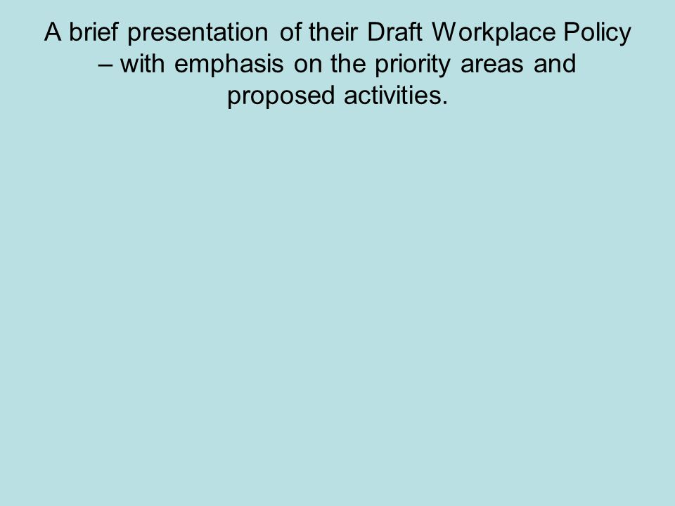 A brief presentation of their Draft Workplace Policy – with emphasis on the priority areas and proposed activities.