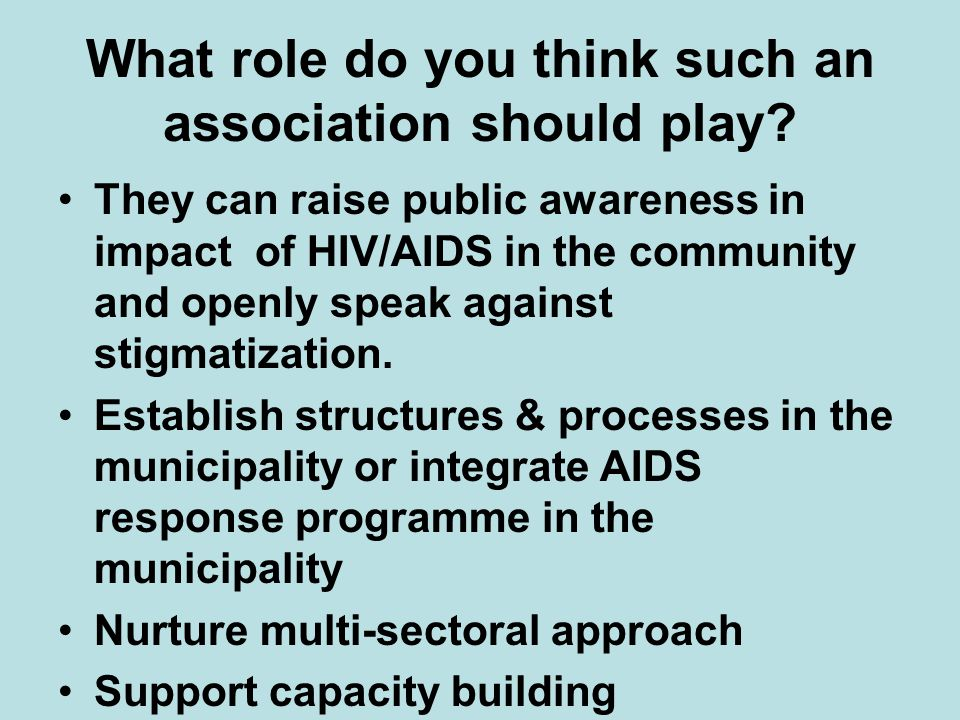 What role do you think such an association should play.