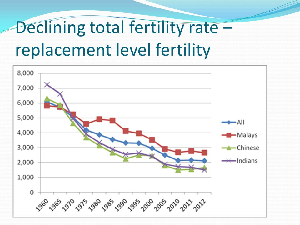 Declining total fertility rate – replacement level fertility