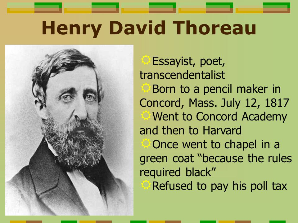 essays about henry david thoreau Henry david thoreau published two books and numerous essays during his lifetime and many more of his works were published after his death in 1862 deciding on which of these thoreau books or essays you should read really depends on what type of thoreau writing is your favorite.