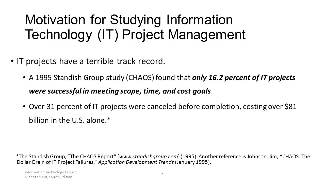 Information Technology Project Management, Fourth Edition 2 IT projects have a terrible track record.