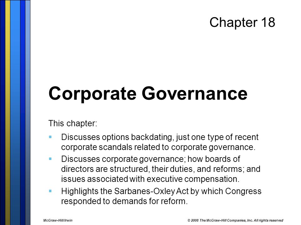 scandals of corporate governance and company law accounting essay Report re: recent accounting and corporate governance scandals contents introduction:3 corporate governance5 corporate governance in ireland5 response from regulators.