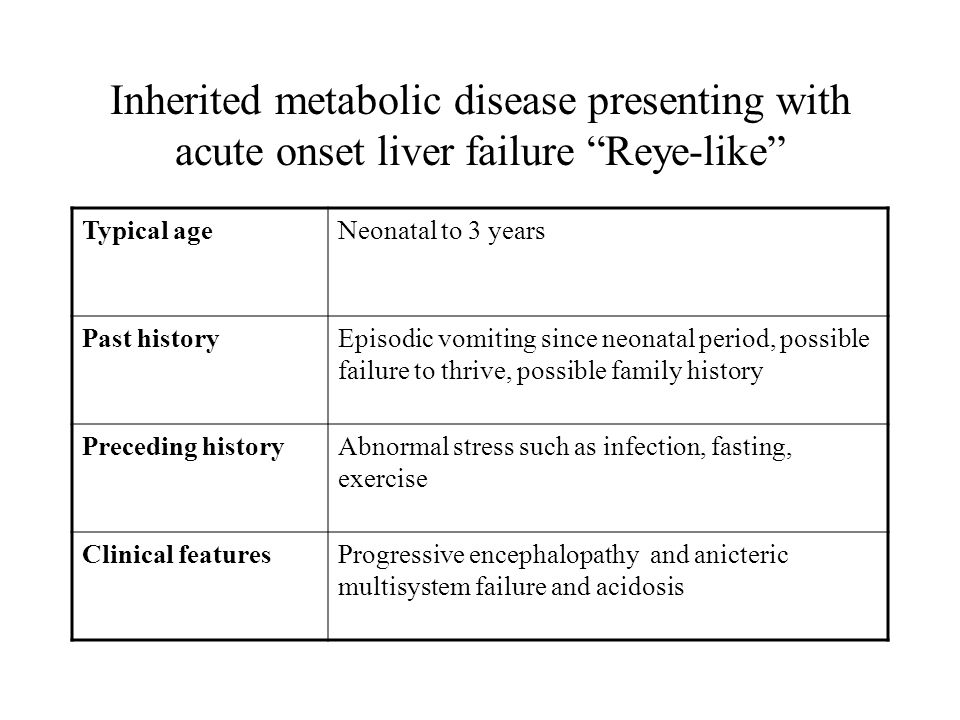 Inherited metabolic disease presenting with acute onset liver failure Reye-like Typical ageNeonatal to 3 years Past historyEpisodic vomiting since neonatal period, possible failure to thrive, possible family history Preceding historyAbnormal stress such as infection, fasting, exercise Clinical featuresProgressive encephalopathy and anicteric multisystem failure and acidosis