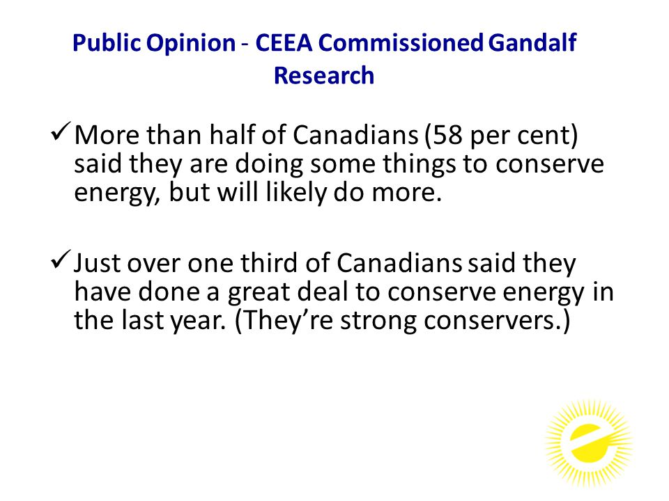 More than half of Canadians (58 per cent) said they are doing some things to conserve energy, but will likely do more.