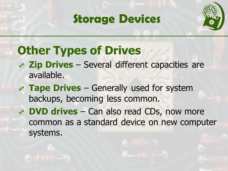 Storage Devices Other Types of Drives  Zip Drives – Several different capacities are available.