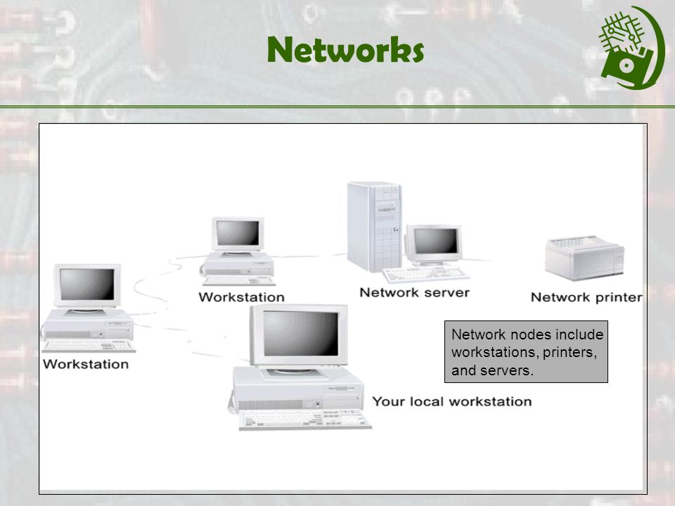 Networks Network nodes include workstations, printers, and servers.