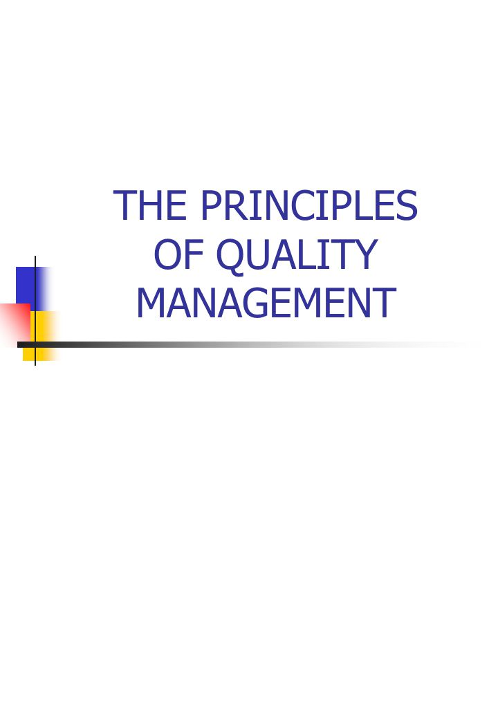 THE PRINCIPLES OF QUALITY MANAGEMENT