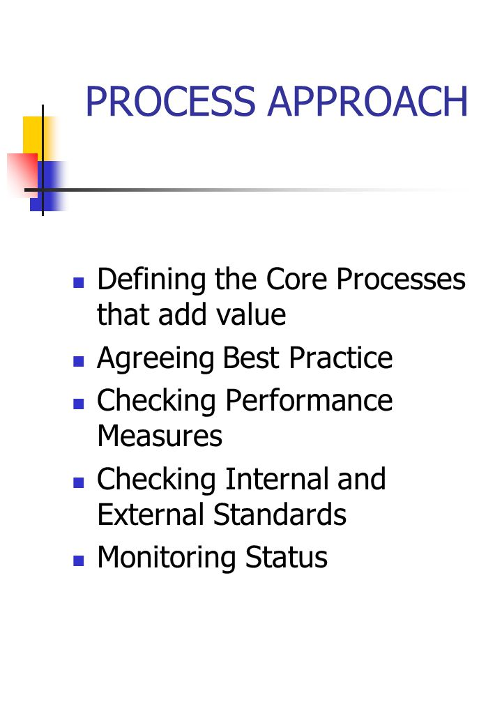 PROCESS APPROACH Defining the Core Processes that add value Agreeing Best Practice Checking Performance Measures Checking Internal and External Standards Monitoring Status
